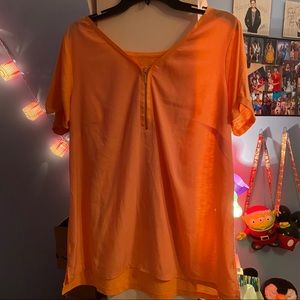 Orange Zipper Blouse